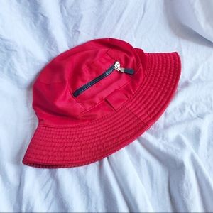 Red Zipper Bucket Hat